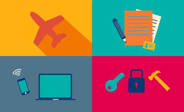 icons of papers and pencils, locks and keys, and computers and IT equipment
