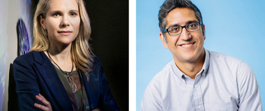 Headshots of Britt Glausinger and Arash Komeili.