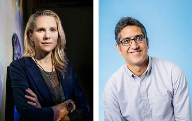 Headshots of Britt Glausinger and Arash Komeili.